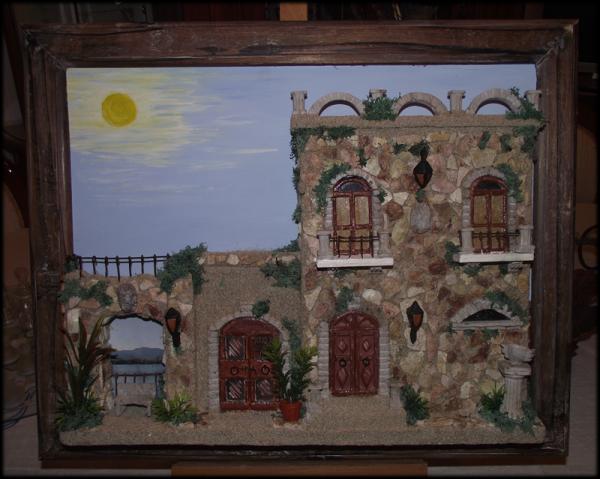 Quadro in rilievo, facciata tipica Parco Jalari