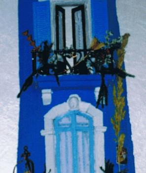 Tegola in rilievo, colore blu mare
