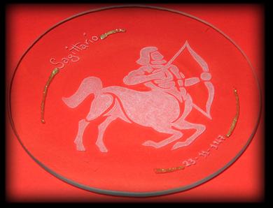 Incisione su vetro di un segno zodiacale, Sagittario