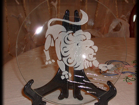 Incisione su vetro di un segno zodiacale, Leone