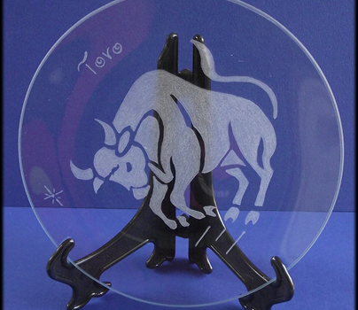 Incisione su vetro di un segno zodiacale, Toro