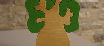 Albero della Vita in Legno, incastro con chioma Verde. Realizzato al traforo.