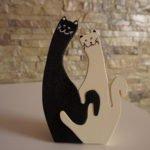 Gatti innamorati in legno, incastro perfetto