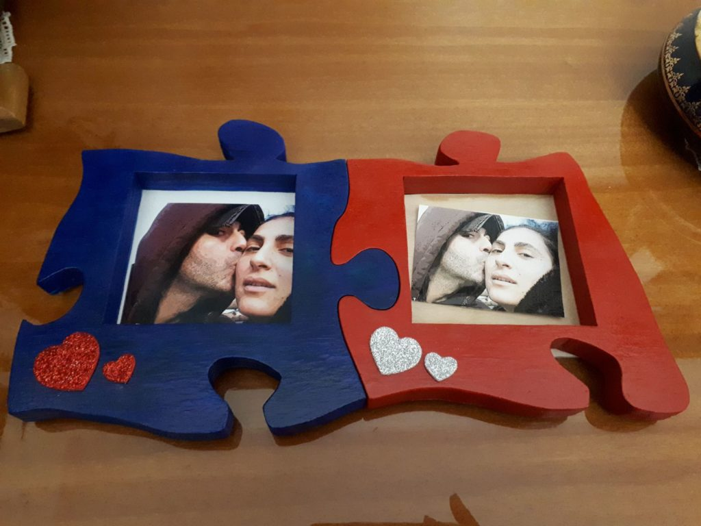 Portafoto Puzzle in legno ad incastro