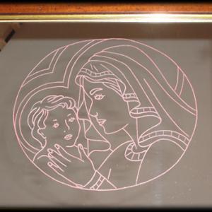 Incisione su vetro, Madonna con Bambino