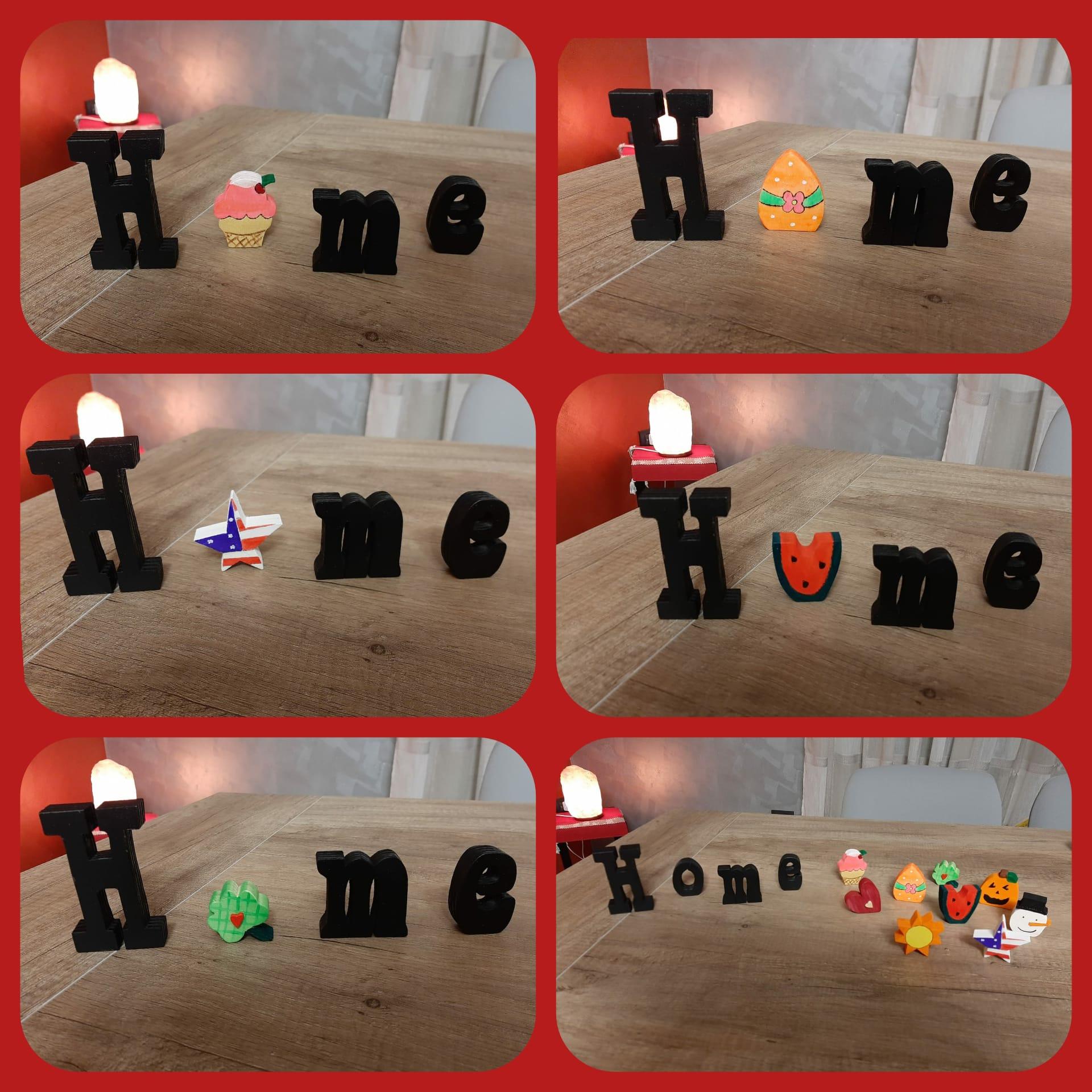 scritta Home personalizzabile per varie festività