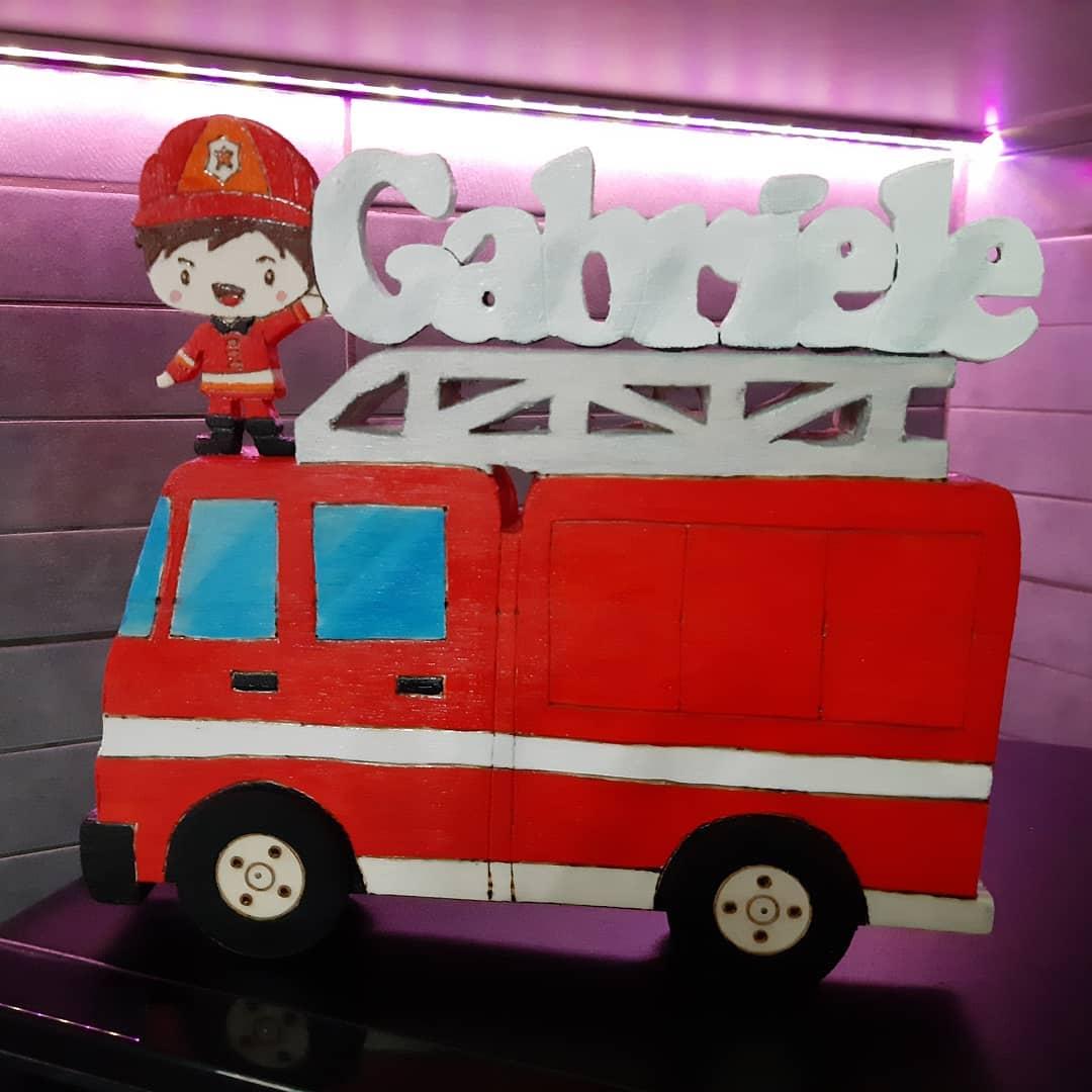 camion pompieri legno