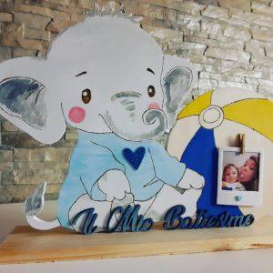 porta foto elefante in legno per battesimo
